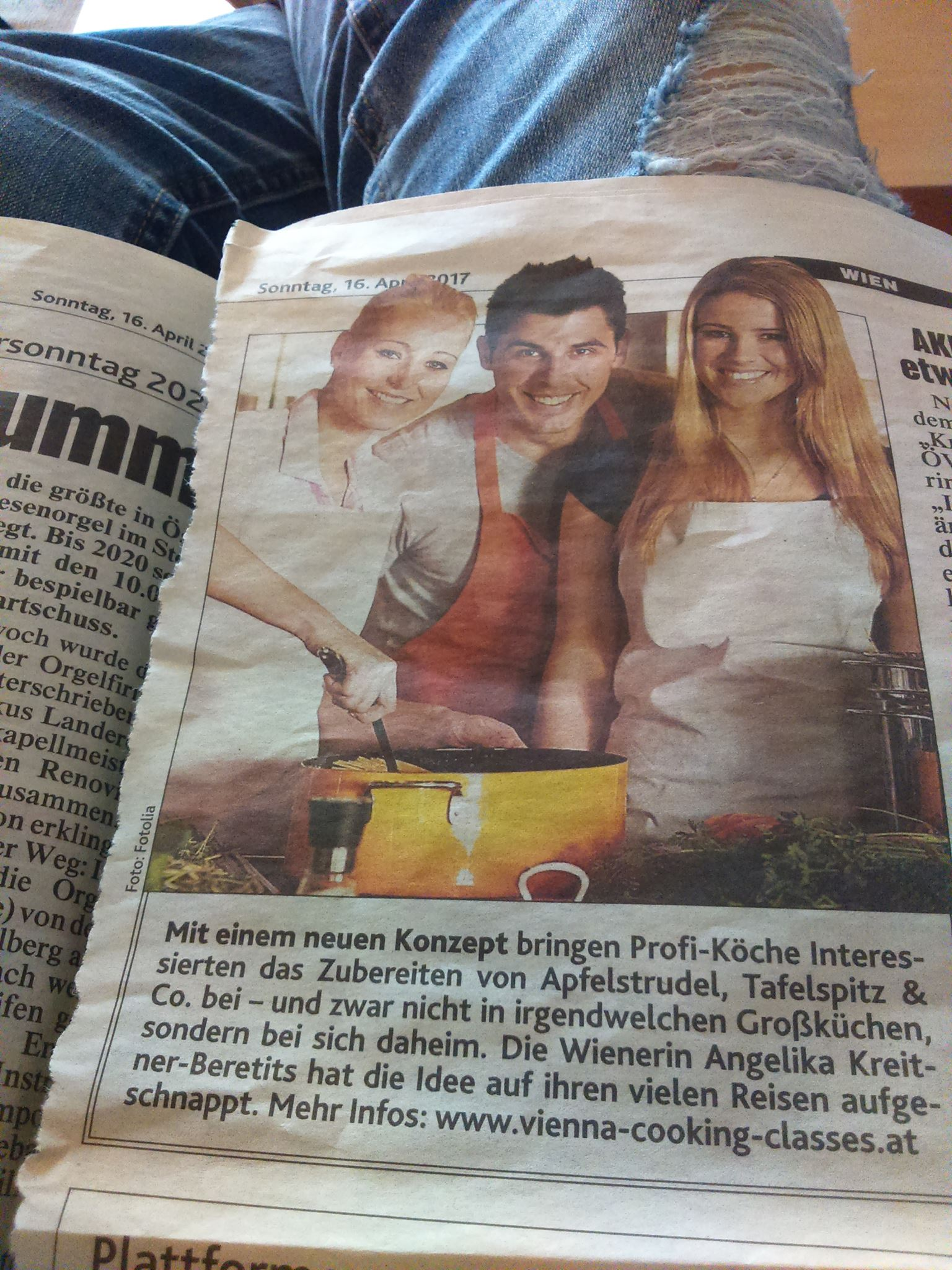 VIENNA COOKING CLASSES IN AUSTRIAS LARGEST NEWS PAPER!